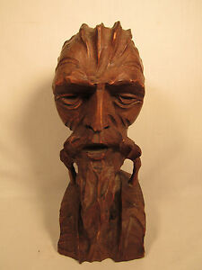 Vintage Hand Carved Don Quixote Wood Bearded Man S Head Bust Statue
