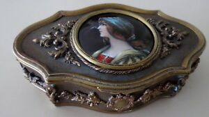 Antique French Bronze Enamel Miniature Portrait Casket Box Signed