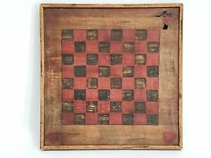 Antique Handcrafted Wooden Country Primitive Checkerboard