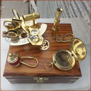 Vintage Maritime Compass Telescope Sextant W Wooden Box Nautical Brass Gift Set