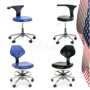Pu Leather Adjustable Doctor Stool Dentist Hydraulic Rolling Chair Black blue Us