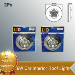 2x 5 6 6w Led Dome Light Fixture Round Interior Lamp Switch Truck Boat Car Rv