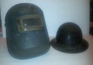 2 Vtg Skullgard Type B Full Brim Hard Hat Fiberglass Mine Miners Pittsburg Pa