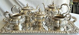 Reed Barton Fancy Silver Plate Tea Service L K
