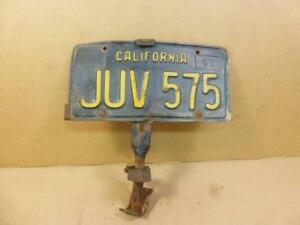 Vintage Car Truck License Plate Holder With California Black Plate Model A T