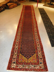 Antique Kurd Malayer Lovely Long Runner 3 4x20 8 Carpet Ca 1930s Rug