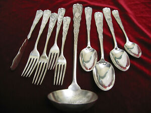 Siren Silverplate Mixed Craft Lot Victorian Rogers Flatware Ladle Forks Spoons