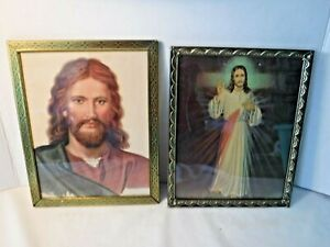 2 Vintage Detailed Metal Picture Frames 8 X 10 Images Of Jesus Sacred Heart