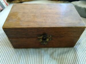 Antique Finger Jointed Oak Wood Wooden Box Piano Hinge 7 5 8 X 4 1 2 X 3 3 4