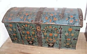 1845 Dome Top Hand Painted Blue Wood Wrought Iron Travel Trunk Stunning
