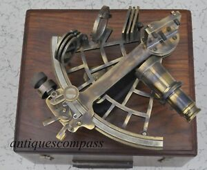 Working Nautical Reproduction Micrometer Drum Readout Brass Sextant With Box New