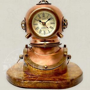 Table Clock Divers Helmet Brass Copper Diving Bell Helmet With Working Clock