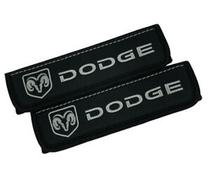 Dodge Gray Embroidery Car Seat Belt Covers Black Leather Shoulder Pads 2 Pcs