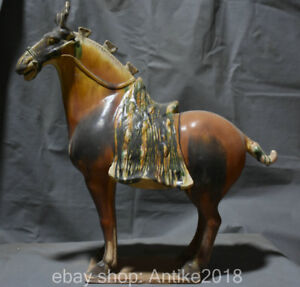 20 Old Chinese Tang San Cai Pottery Dynasty Stand 12 Zodiac Year Horse Statue