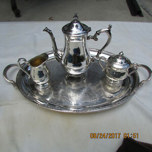 4 Pc Vintage International Silver Co Plated Coffee Tea Set Camille