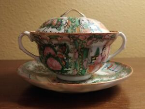 Antique Chinese Export Rose Medallion Porcelain Soup Rice Bowl Cover W Saucer