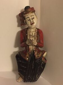 Rare Antique Burmese Hand Carved East Indian Man Clapping 10 Wood