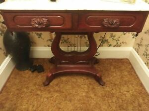 Vintage Victorian Mahogany Marble Top Table Console Hall Table With Harp Base