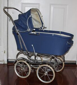 Blue Vintage Doll Carriage Pram Stroller Baby Photography Prop Display