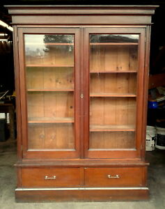 Antique Victorian Cherry Step Back Bookcase Showcase 2 Doors 2 Drawers 1860 Era