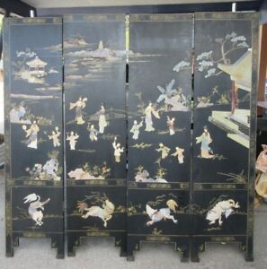 Vintage Asian Room Divider 6 Screen Black Oriental Chinese Stone Rock Carved