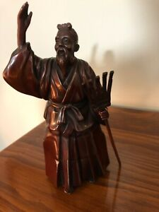 Japanese Vintage Bronze Statue 7 Tall Beautifully Detailed Man With Rake