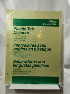 9 Tabs office Essentials Economy Insertable Tab Dividers