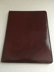 Vintage Bosca Hand Stained Burgundy Leather Padfolio 12 5 X 9 5 Made In Usa