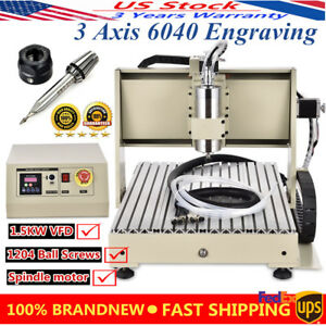 3 Axis 6040 Cnc Router Engraving Milling Machine 1 5kw Engraver Mill Pvc Desktop
