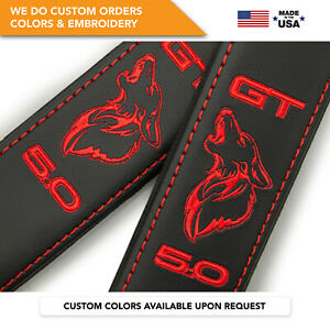 Seat Belt Covers Custom Shoulder Pads Red Embroidery Ford Mustang Coyote Gt 5 0l