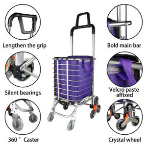 Portable Stair Climber Foldable Shopping Cart With Swivel Wheel And Oxford Bag