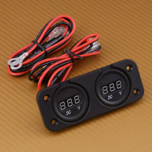 Dual Battery Digital Dc12 24v Voltmeter Monitor Volt Meter Waterproof Car Boat