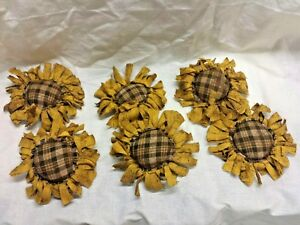 Primitive Bowl Fillers Ornies Yellow Sunflowers Brown Plaid Center Grunged