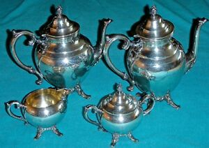 William Rogers 4 Piece Silver Plated Service Coffee And Tea Pots Cream