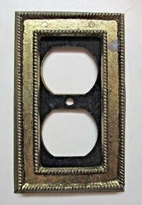 Vintage Roped Duplex Single Outlet Wall Plate Cover Aged Dark Brass W Velvet