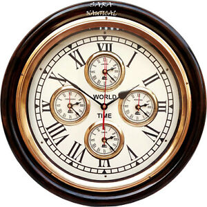 Shiny Brass Finish Wooden World Time Wall Clock 4 Country Zone Time Wall Clock