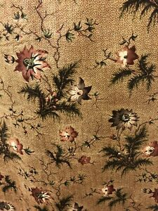 Beautiful Antique C1840 Glazed Cotton Floral Chintz Yardage 107 X 25