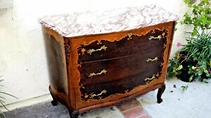 French Bombe Commode Marquetry Inlayed W Burled Walnut Beautiful Marble Top