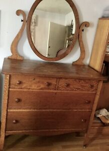 Vtg Antique Tiger Dark Oak 4 Drawer W Mirror Dresser Redmond Or Furniture Co