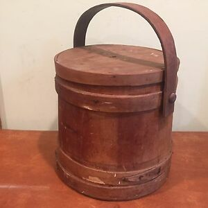 Antique Primitive Wooden Firkin Bucket Pail With Lid