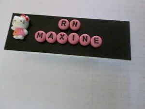 Id Name Tag Badge Magnet Or Pin Back Hello Kitty teacher nurse office Pediatric
