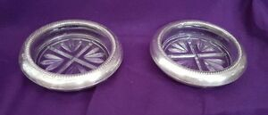 Antique Glass Coasters With Silver Trim 1950s