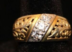 Vintage Russian Gold Plated 925 Silver Ring Beautiful