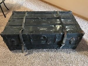 Black Antique Flat Steamer Trunk Vintage Leather Straps Collectible Coffee Table