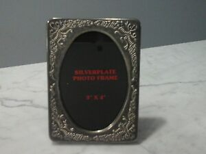 Victorian Silverplate Repousse Small Size Floral Photo Frame 3x4 Photo