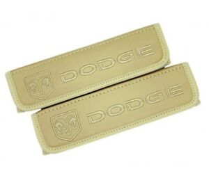 Dodge Beige Embroidery Car Seat Belt Covers Leather Shoulder Pads 2 Pcs