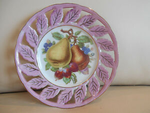 Reticulated Royal Halsey Fruit Plate Pink Iridescent Rim Handpainted Lovely