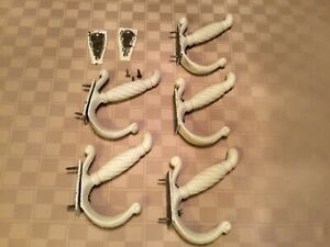 Antique Lot Of 5 Large Heavy Solid Brass Dual Coat Hanger Hooks 6 X 5