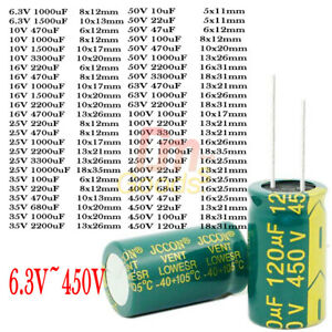 Lot Pcs 6 3v 450v High Frequency Low Impedance Radial Electrolytic Capacitor