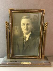 Antique Wood Picture Frame Hinged Swivel Stand Old Photograph Of Man 4 75x7 5